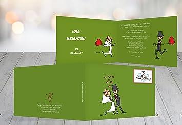 Kartenparadies Hochzeitskarte Hochzeit Einladung Comic Brautpaar ...