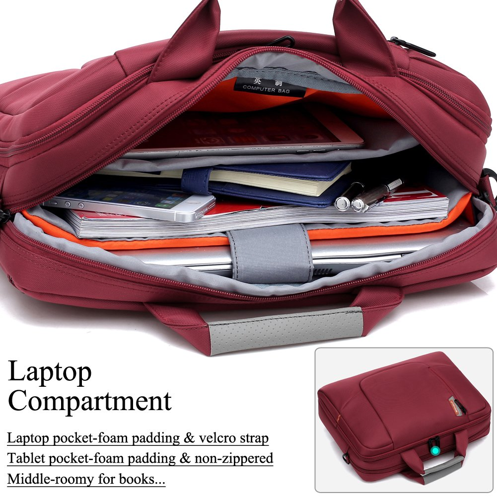 BRINCH(TM 17.3 inch New Soft Nylon Waterproof Laptop Computer Case Cover Sleeve Shoulder Strap Bag with Side Pockets Handles and Detachable for Laptop/Notebook/NetBook/Chromebook,Colour Red by BRINCH (Image #4)