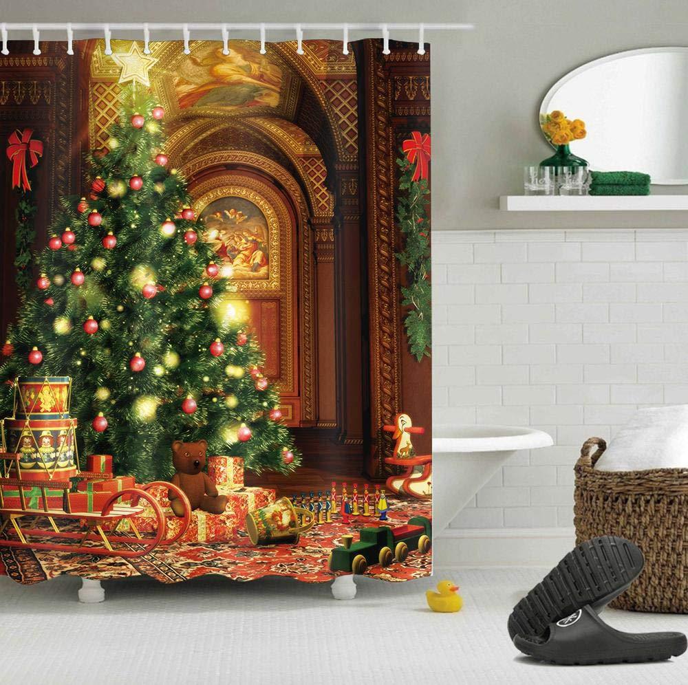 LB Frohe Weihnachten Duschvorhang Haus Dekor/Weihnachtsbaum,Braunbär ...