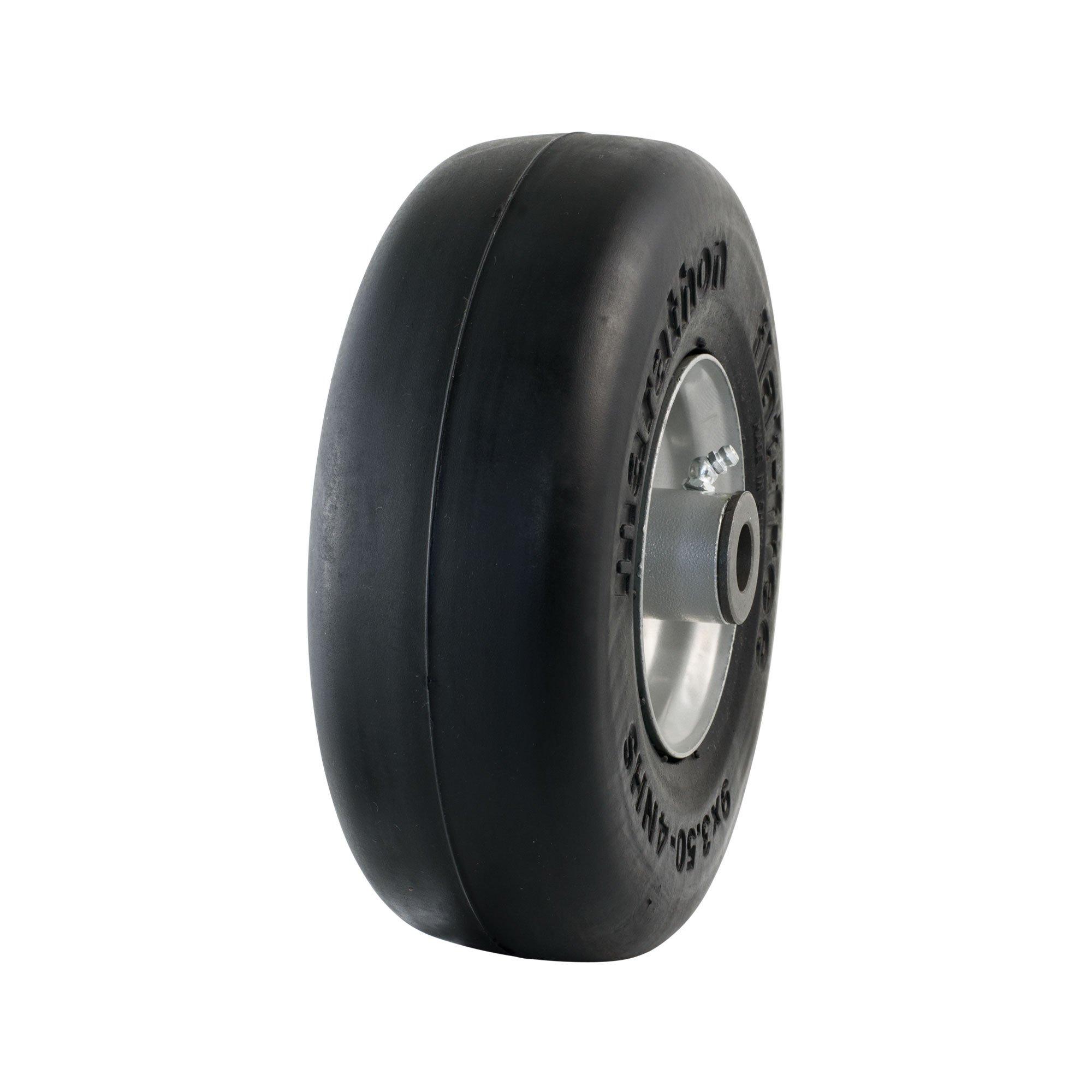 Marathon 9x3.50-4'' Flat Free Tire on Wheel, 4'' Centered Hub, 3/4'' Bushings