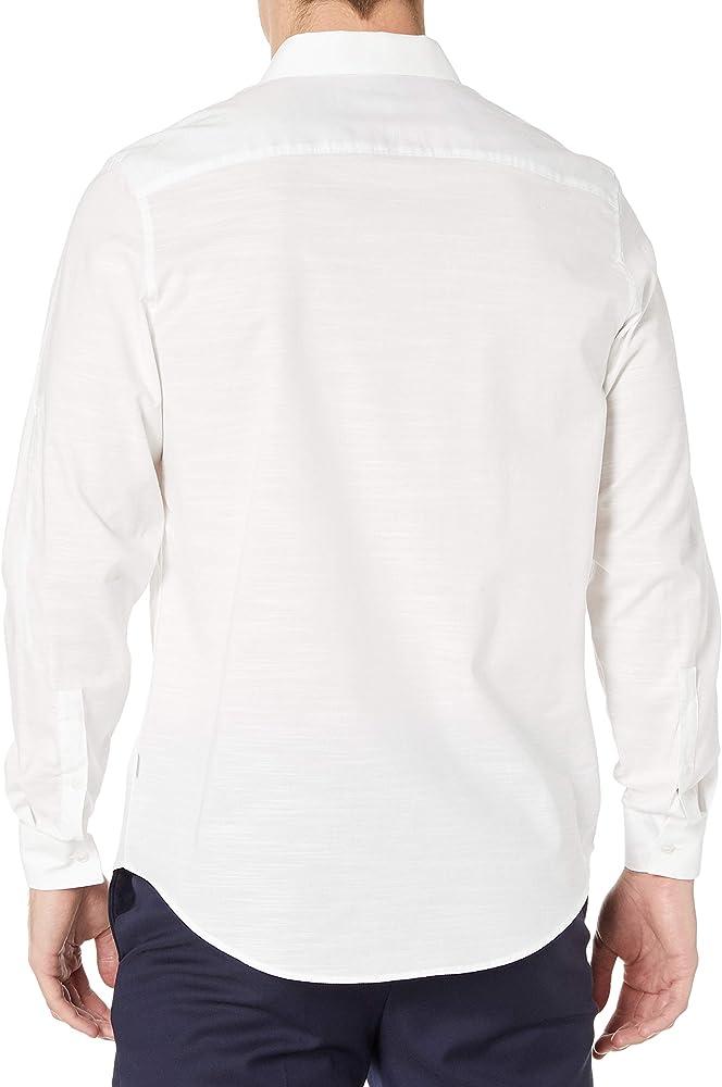 Calvin Klein Hombre 40H6380 Manga Larga Camisa de Botones - Blanco - Small: Amazon.es: Ropa y accesorios