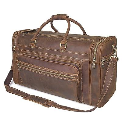 "Polare 23.6"" Retro Full Grain Leather Duffel Weekender Travel Overnight Luggage Bag"