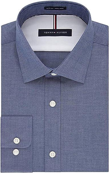 Tommy Hilfiger Men/'s Regular Fit Wrinkle Resistant Long Sleeve Dress Shirt