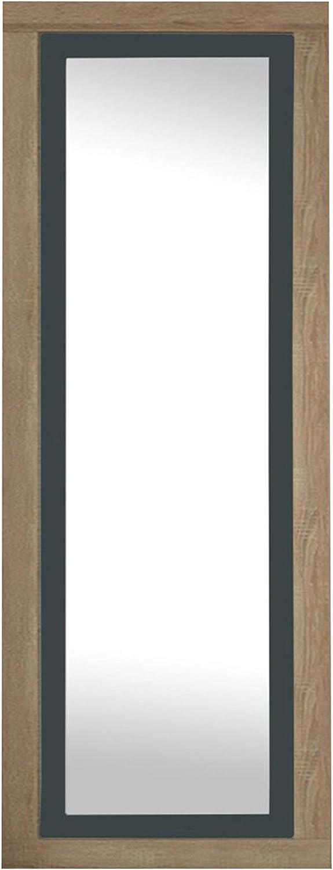 duehome HomeSouth - Espejo de Pared, Mural con Luna Modelo Lara, Acabado en Color Cambria y Grafito, Medidas: 180 cm (Alto) x 60 cm (Ancho) x 3,5 cm (Fondo)