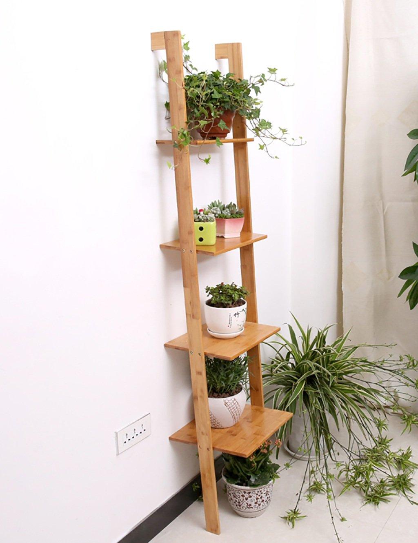 Einfache Kreativität Bambus-Leiter Blumenständer Kreative mehrschichtige Blumenregal Boden Typ Blumenregal Balkon Boden Pflanzer Regal Einfache Moderne Wohnzimmer Indoor Flower Rack