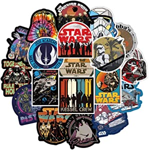 108 Pcs Star Wars Stickers, The Star Wars Waterproof Vinyl Stickers for Water Bottles Laptop Car Bicycle Motorcycle Refrigerator Luggage Cup Computer Mobile Phone Locker Skateboard Decals