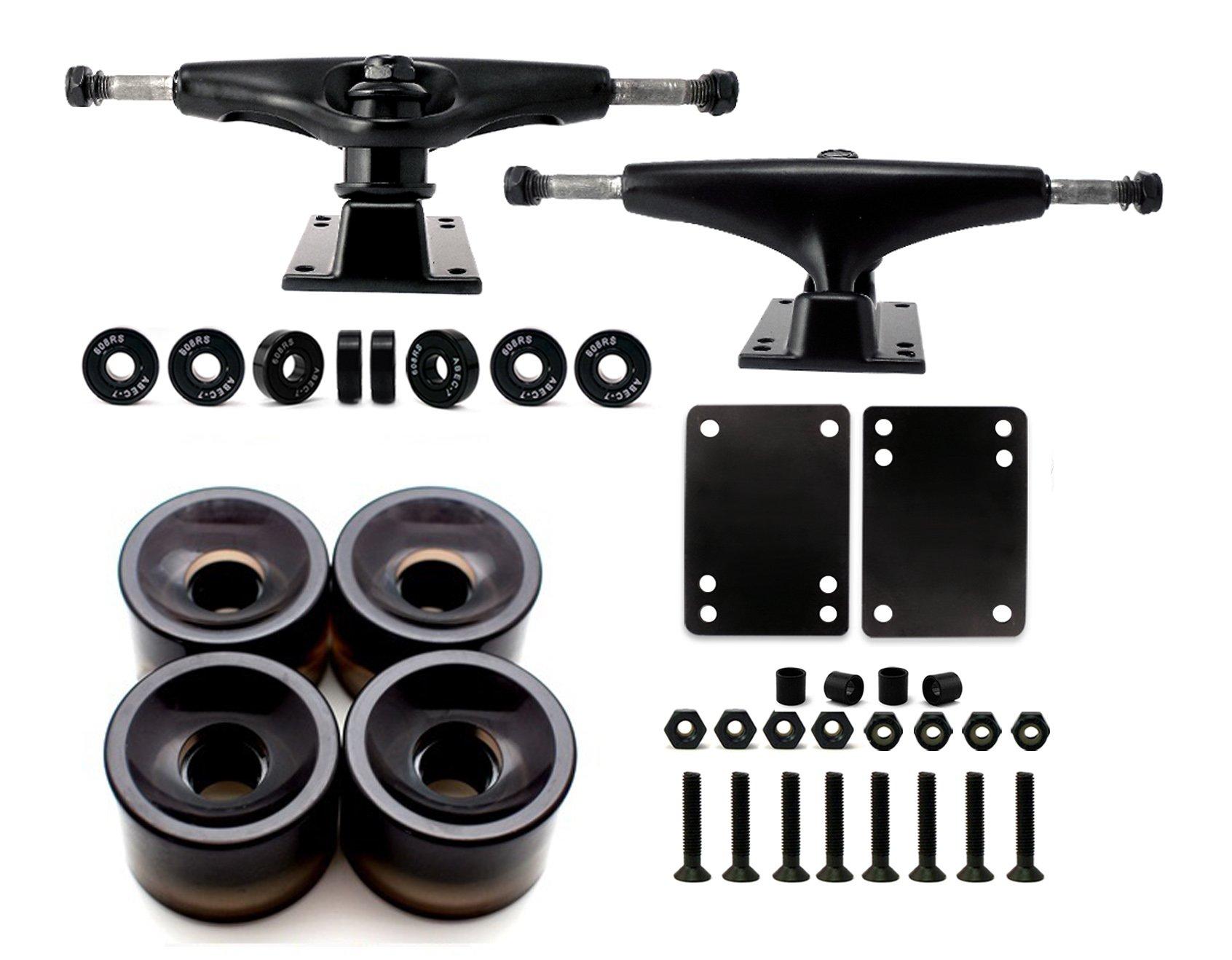 VJ Skateboard Truck and Wheel, 5.0 Skateboard Trucks (Black) w/Skateboard Crusier Wheel 60mm, Skateboard Bearings, Skateboard Screws, Skateboard Riser Pads (Gel Black) by VJ