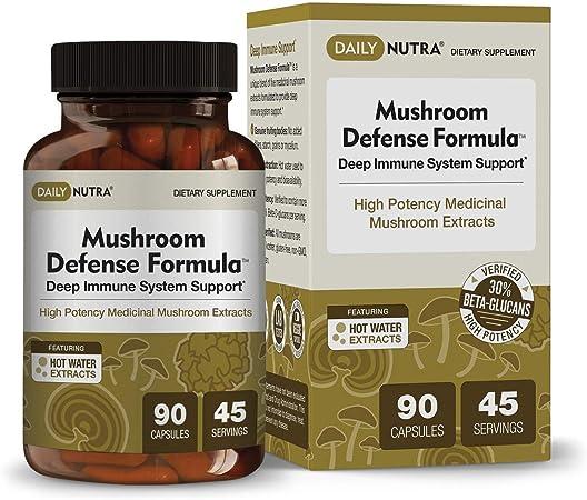 Mushroom Defense Formula by DailyNutra - Immune Support Supplement | Organic Mushrooms, Hot Water Extracted - Reishi, Chaga, Maitake, Shiitake & Turkey Tail (90 Capsules)