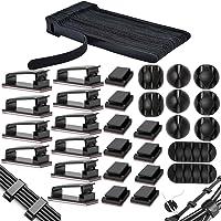 MiuCo 50 stuks kabelbinders klittenband / kabel klittenband + 40 stuks kabelklemmen / kabelclips + 10 stuks kabelhouders…