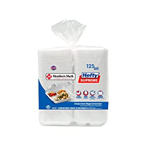 An Item of Member's Mark Three-Compartment Foam Hinged Lid Container by Hefty (125 ct.) - Pack of 1