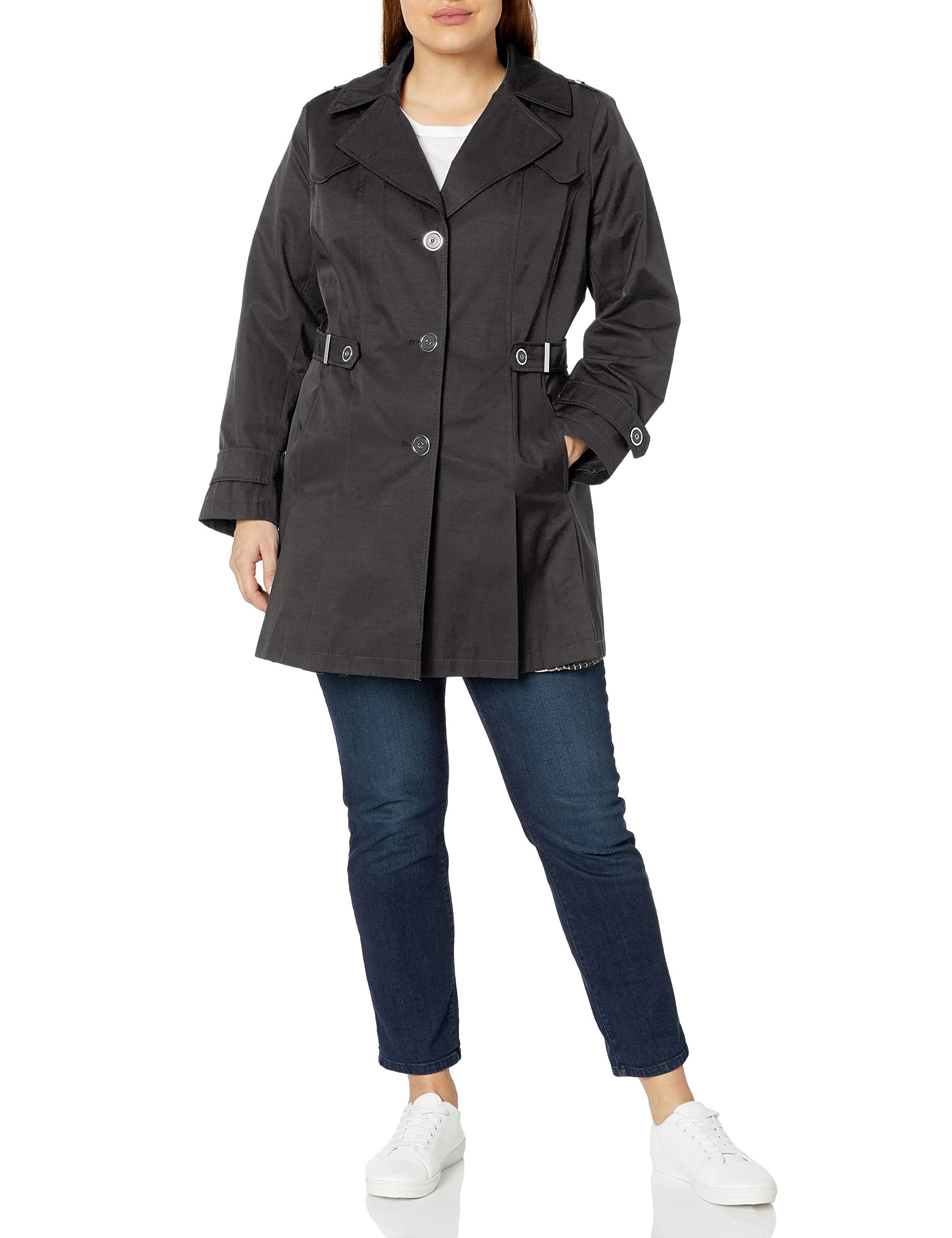Via Spiga Women's Plus-Size Single-Breasted Pleated Trench Coat