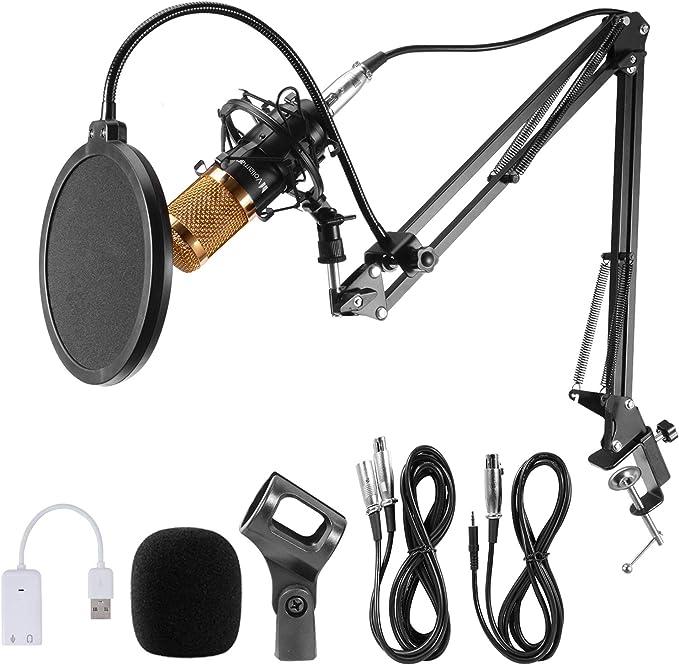 Voilamrt USB Streaming Podcast PC Microphone Condenser Microphone Set BM800 with Adjustable Recording Suspension Scissor Arm Stand Shock Mount Podcast at Kapruka Online for specialGifts
