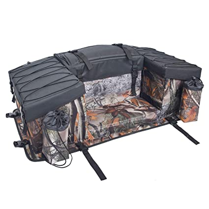 ATV Cargo Bag Rear Rack Gear Bag Made of 600D Waterproof Fabric with Topside Bungee Tie-Down Storage Padded-Bottom Multi-compartment Camo