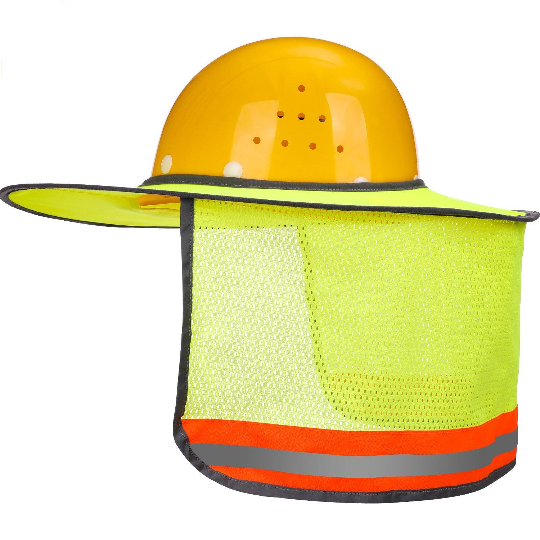 SATINIOR Full Brim Sun Neck Shield Mesh Sun Shade Protector for Hard Hats Helmets with Reflective Stripe, Yellow