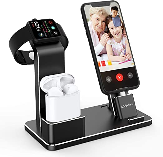Amazon Com Yofew Charging Stand For Apple Watch Charger Stand Aluminum Dock Station Compatible For Iwatch Apple Watch Series 5 4 3 2 1 Airpods Airpods Pro Iphone X Xs Xs Ma 8 8plus 7 7 Plus 6s