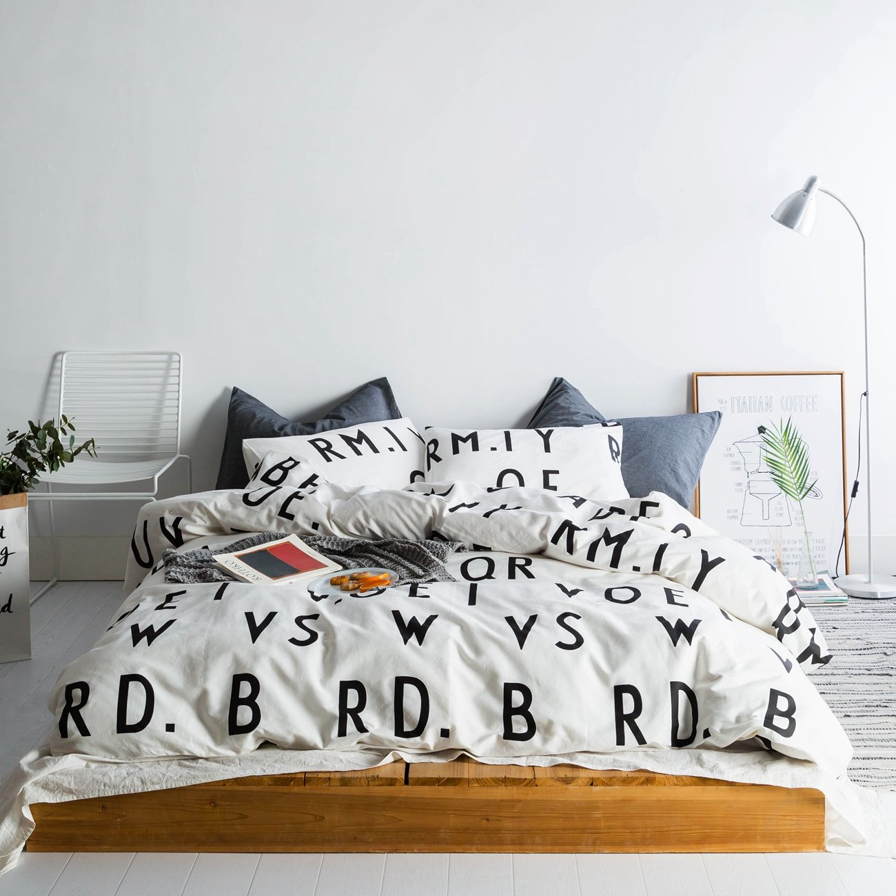 Susybao 3 Pieces Duvet Cover Set 100 Percents Natural Cotton King Size Black White Words Printed Patterns Bedding With Zipper Ties 1 Duvet Cover 2 Pillowcases Hotel Quality Soft Comfortable Modern Durable by Susybao