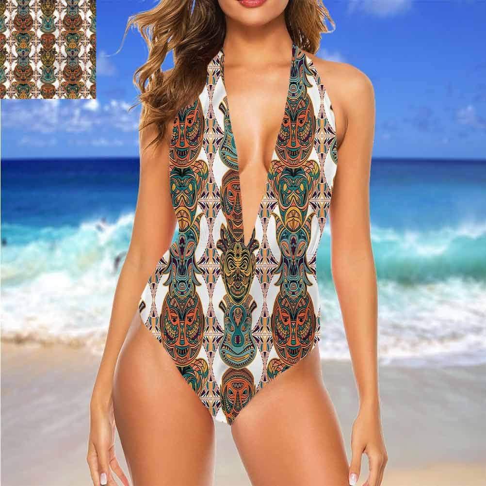Adorise Maillot de bain à bretelles pour femme Motif aztèque Multi 04