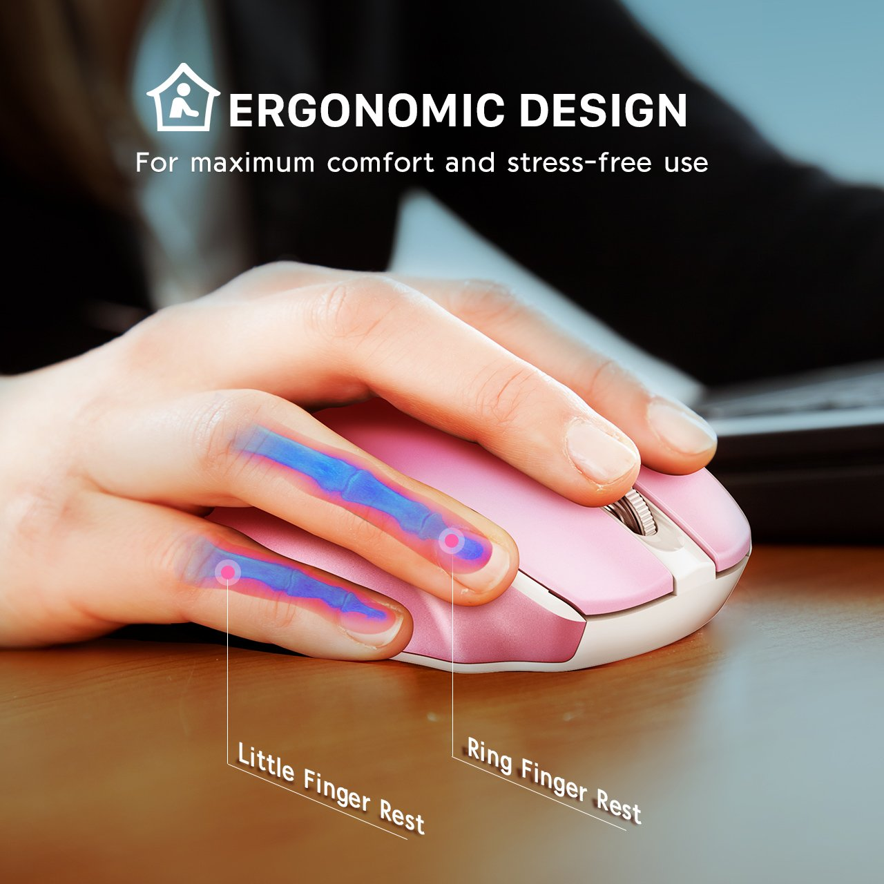 VicTsing MM057 2.4G Wireless Portable Mobile Mouse Optical Mice with USB Receiver, 5 Adjustable DPI Levels, 6 Buttons for Notebook, Pink by VicTsing (Image #2)