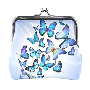 COOSUN La Mariposa Azul Dibujo Colorido Arte de Cuero Hermosa Moneda del Embrague Monedero de Cierre a presión Moneda de la Carpeta Pequeña: Amazon.es: ...