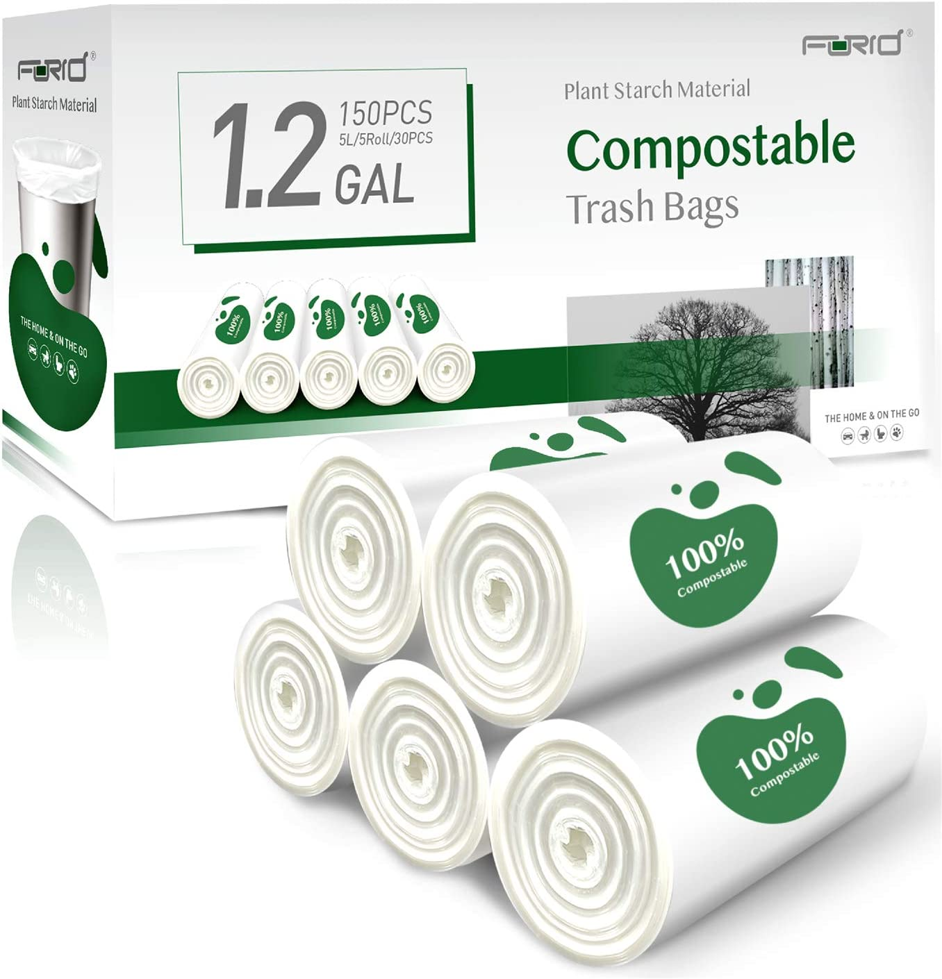 Small Trash Bags - FORID 1.2 Gallon Strong Compostable Garbage Bags 150 Count Mini Trash Can Liners 5 Liter Unscented Wastebasket Garbage Bags for Bathroom Kitchen Home Office (5Rolls/White)