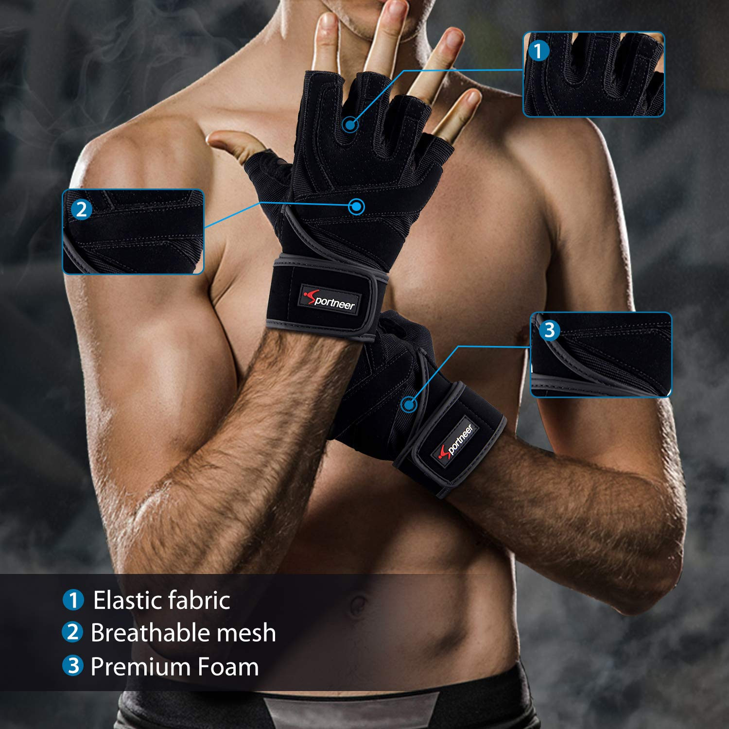 """Powerlifting Padded Weight Lifting Gloves Gym Gloves Workout Gloves with Built-in 19/"""" Wrist Wraps Fitness Exercise Gloves for Cross Training Pull Ups"""