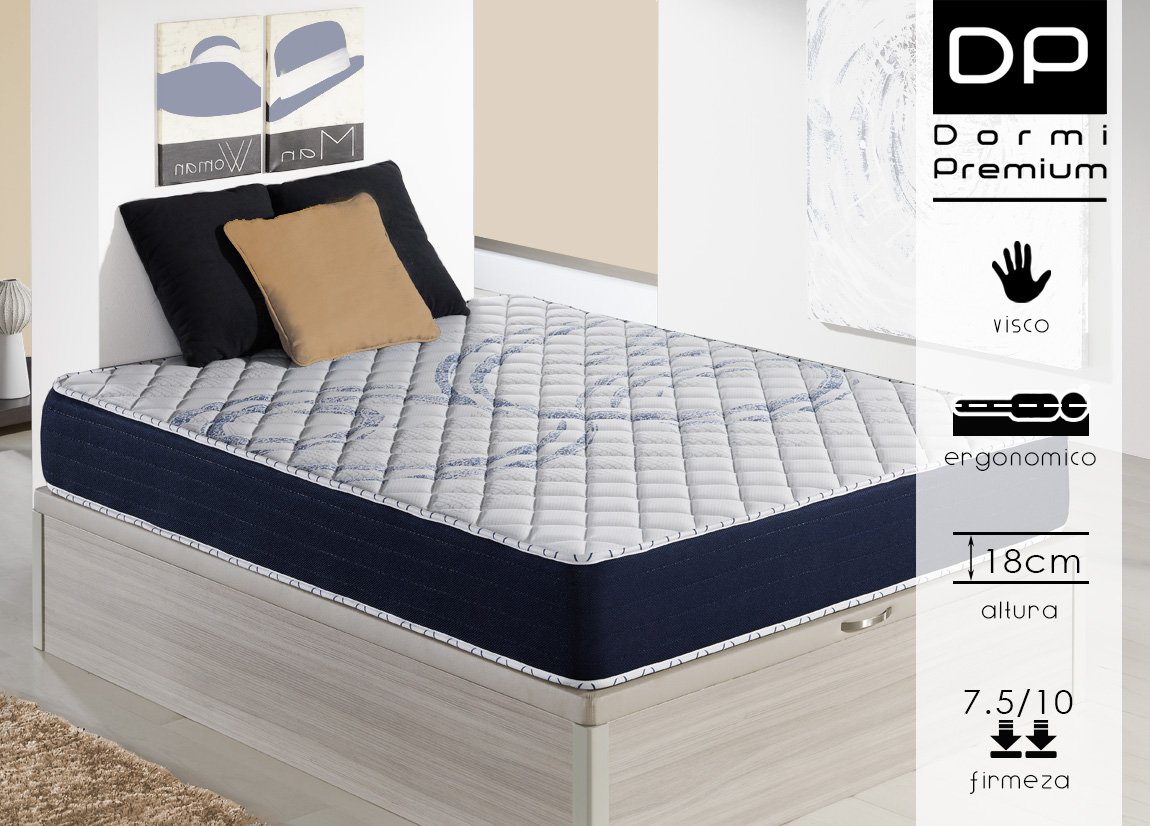 DormiPremium Colchón VISCOELASTICO Dallas Slim Especial 120X180 Altura 18 cm, (3cm visco): Amazon.es: Hogar