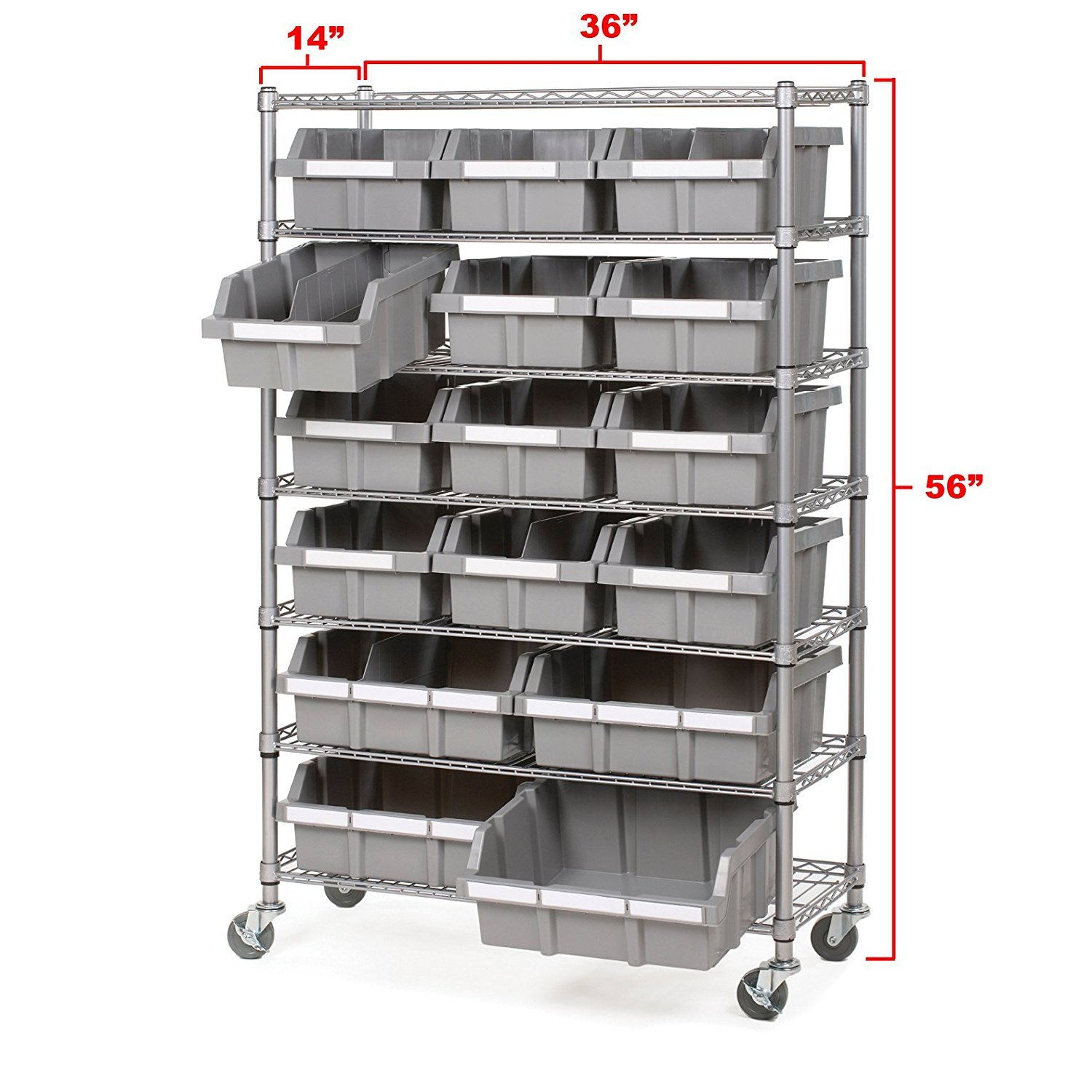 Seville Classics Commercial 7-Tier Platinum/Gray NSF 16-Bin Rack Storage System by Seville Classics (Image #8)