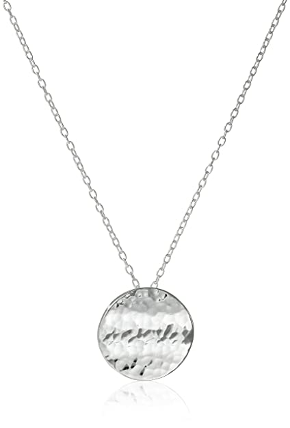 Amazon sterling silver hammered circle pendant necklace 18 sterling silver hammered circle pendant necklace 18quot aloadofball Image collections