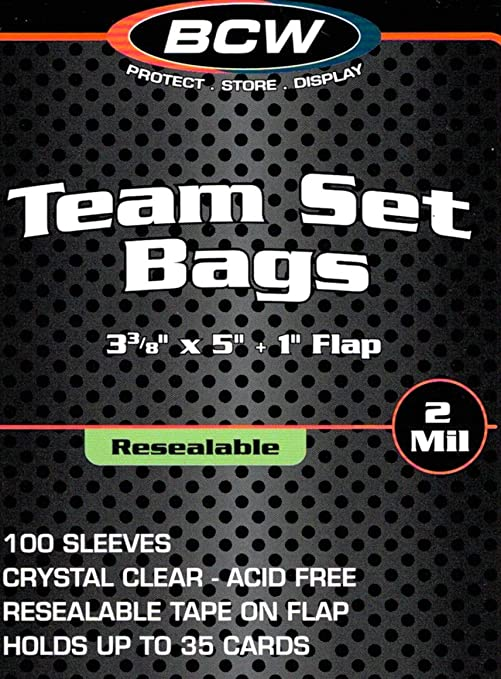 Amazoncom Bcw Resealable Team Set Bags 3 38 X 4 5