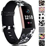 Maledan Bands Compatible with Fitbit Charge 3 and Charge 4, Water Resistant Soft Flexible Adjustable Accessories Printed…