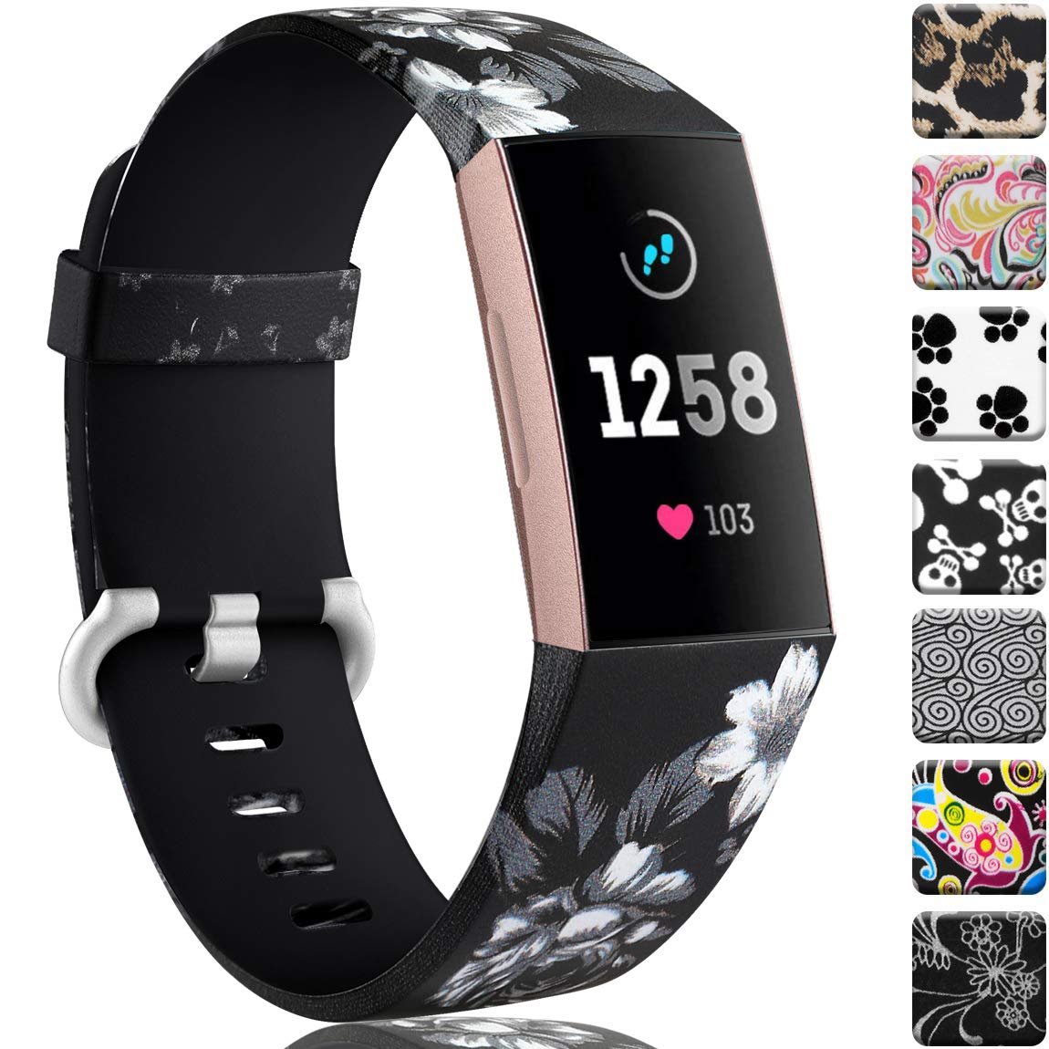 Maledan Compatible with Charge 3 Bands and Charge 4 Bands for Women Men, Cloud Pattern, Small