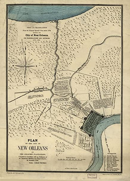 Amazon.com: Vintage 1875 Map of Plan of the City of New Orleans and on