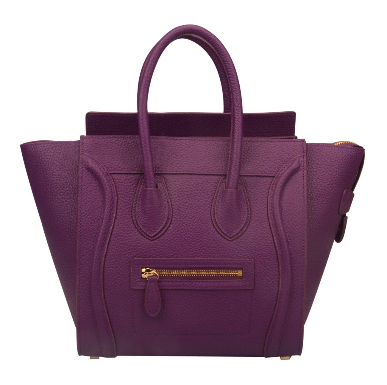Ainifeel Women's Genuine Leather Smile Top Handle Handbag Purse (Medium, Purple)