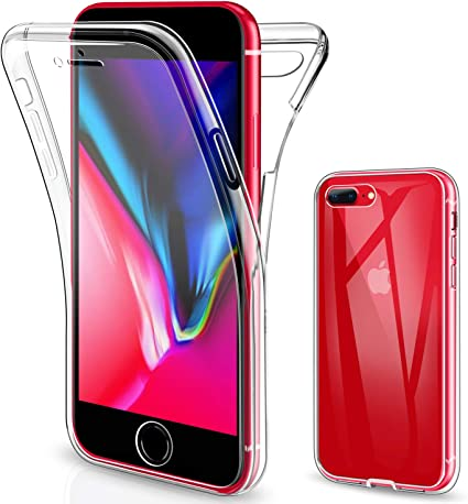 SOGUDE Coque pour iPhone 7 Plus, Coque pour iPhone 8 Plus, iPhone 7 Plus Coque Transparent Silicone TPU Case Intégral 360 Degres Full Body Protection ...