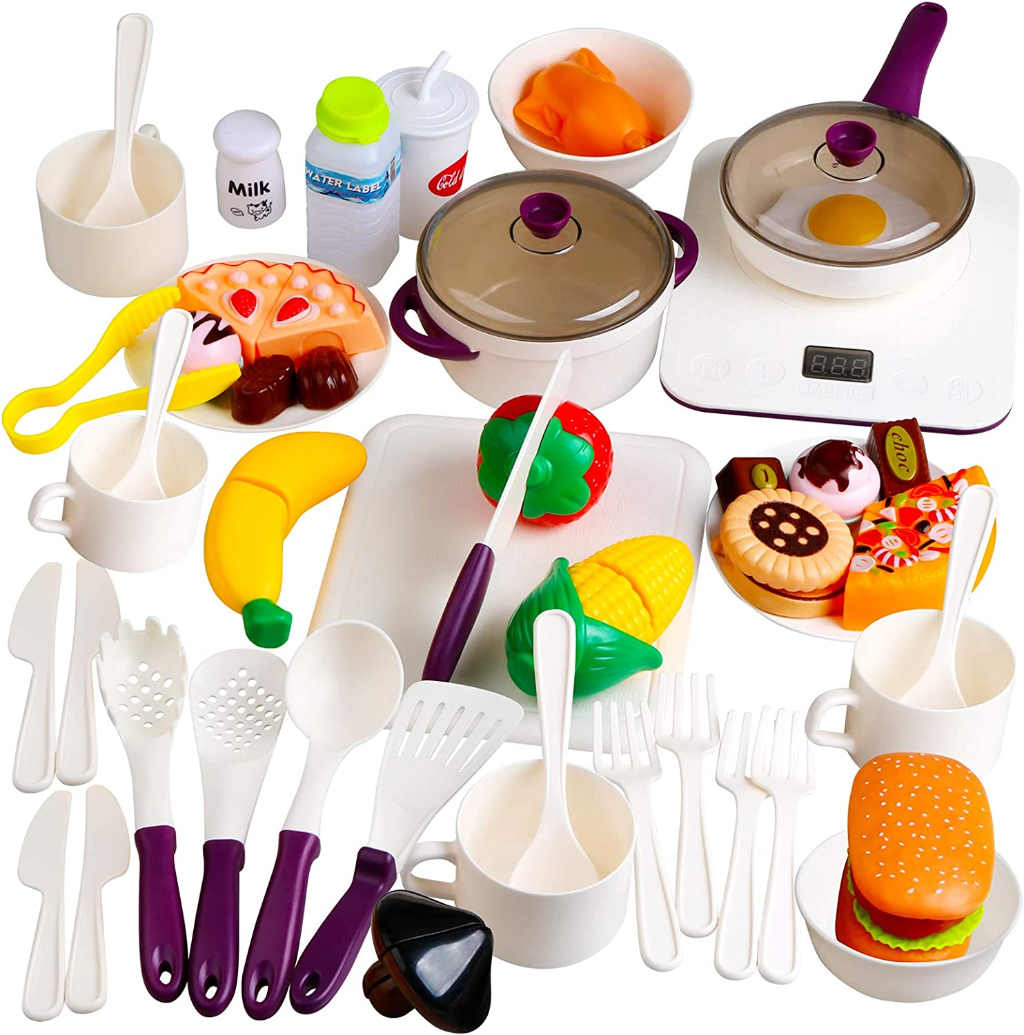 Beletops Kids Kitchen Pretend Play Toys 53PCS Cooking Set Pots and Pans Playset, Peeling and Cutting Play Food Toys Cooking Utensils Learning Gift for Toddlers, Children, Boys, Girls, Kids - White