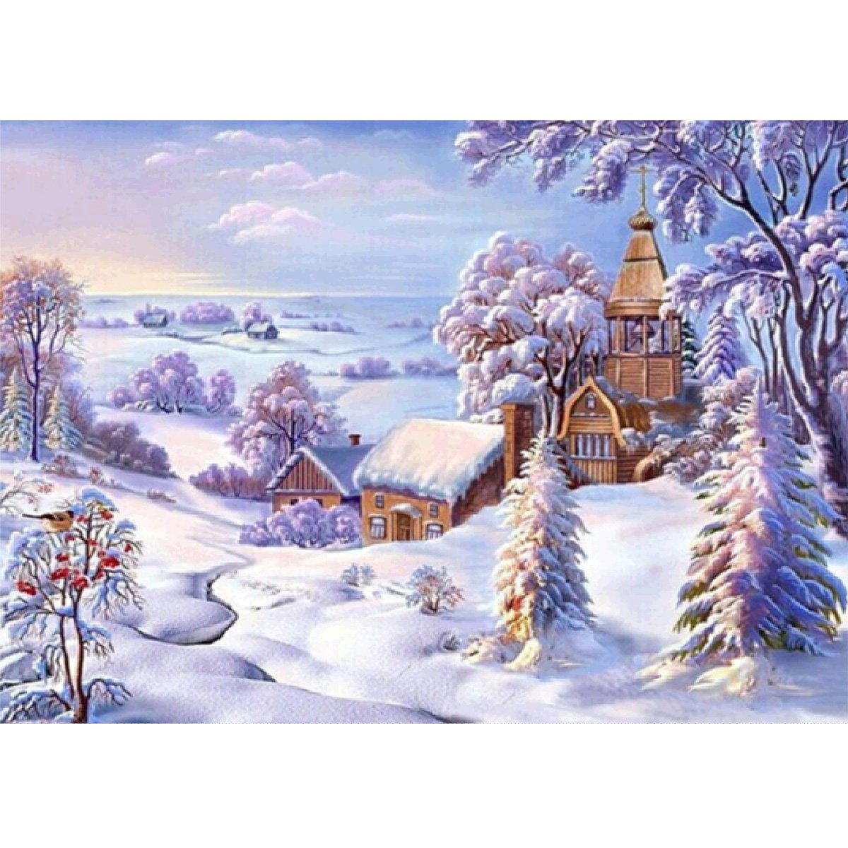 DIY 5D Diamond Painting by Number Kits Full Round Drill Rhinestone Cross Stitch Picture Craft for Home Wall Decor 12x16In Snow Cabin MXJSUA