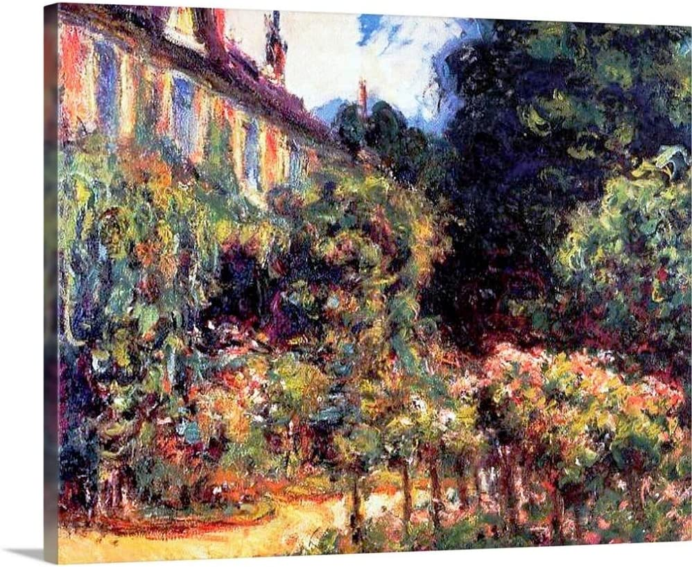 Giverny, The House from The Garden, 1913 Canvas Wall Art Print, Floral Artwork