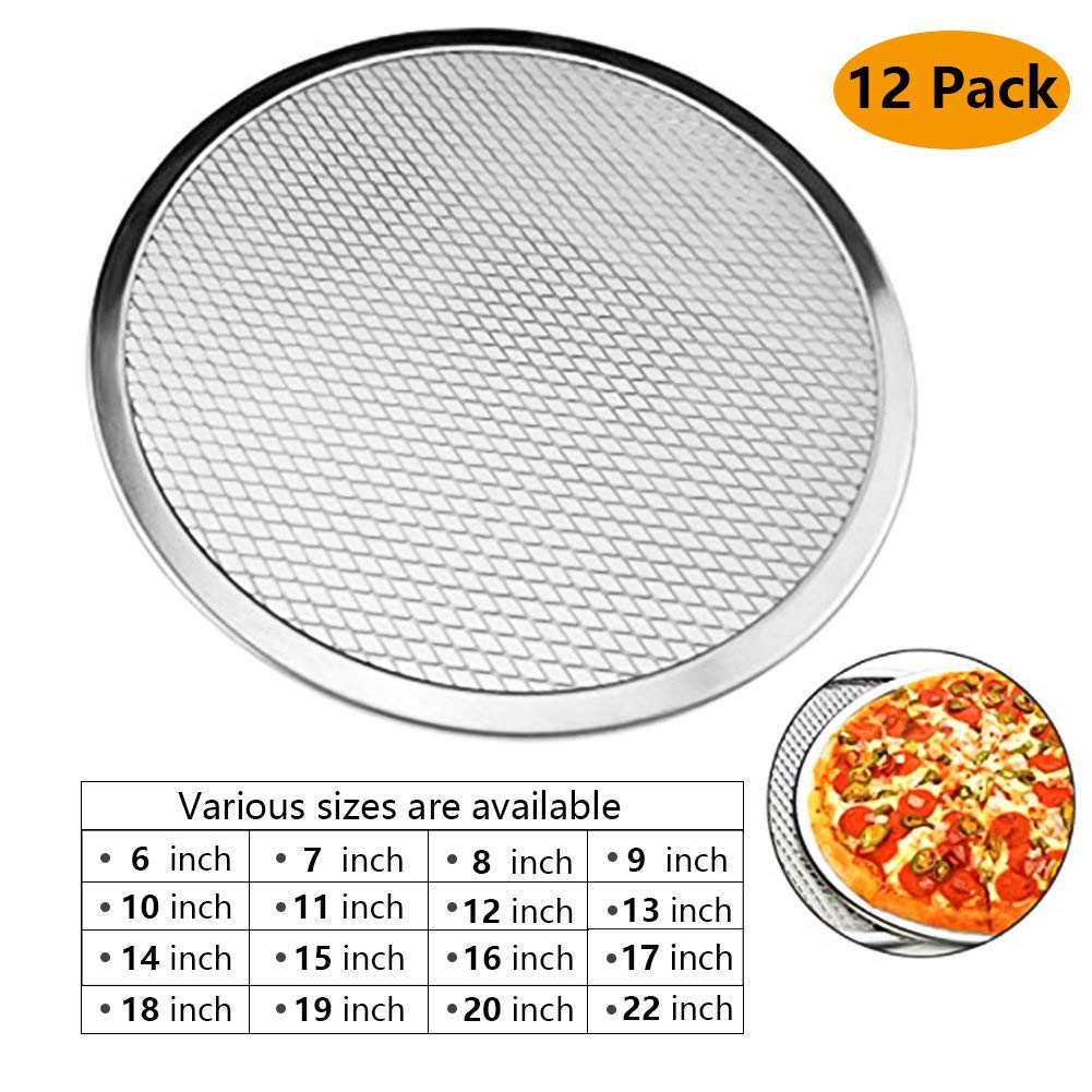 6''-22''/ 12PACK Pizza Pan with Holes Pizza Screen Seamless Aluminum Chef's Baking Screen,Commercial Grade Pizza Pan Supplies Non-Stick Tray Tool Chef's Baking Screen (6''-22'')
