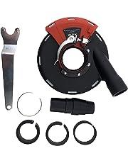 PRODIAMANT Hotte aspirante avec couronne de brosse compatible avec 115 mm et 125 mm abrasif pour les travaux de ponçage avec aspiration avec bague d'adaptation et connecteur d'aspirateur