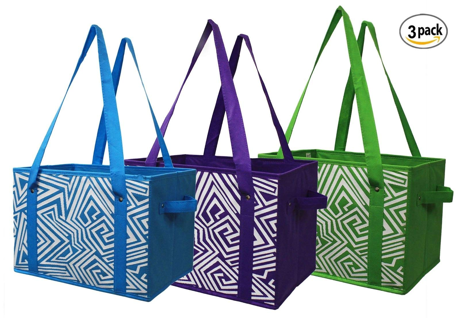 Earthwise Reusable Grocery Bag Shopping Box Tote COLLAPSIBLE BAG with Reinforced Bottom - 3 Bright Colors (Set of 3)