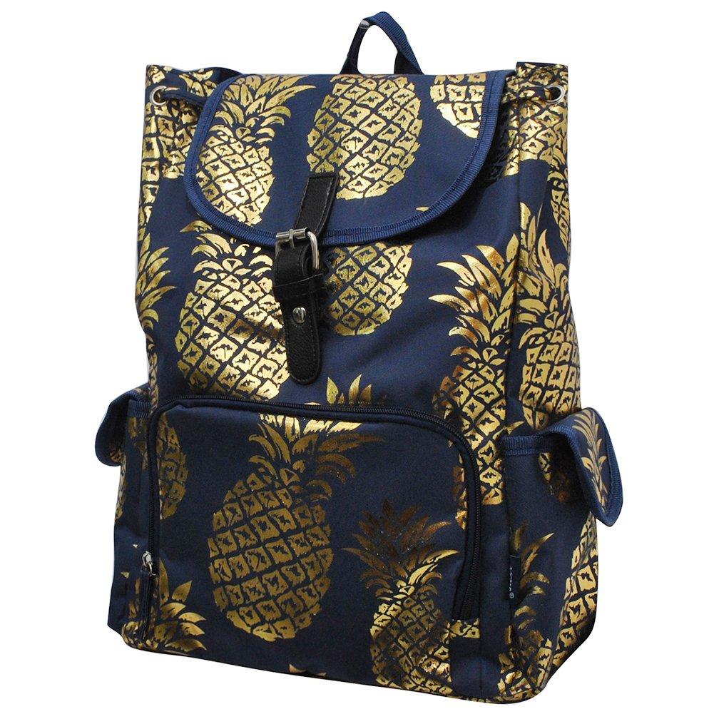 Gold Pineapple Navy NGIL Large Drawstring School Backpack