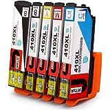 JetSir Replacement Epson 410XL 410 Ink Cartridges 1 Set, Compatible with Epson XP-830 XP-630 XP-640 XP-530 XP-635 Printers (1 Black, 1 Photo Black, 1 Cyan, 1 Magenta, 1 Yellow) 5 pack