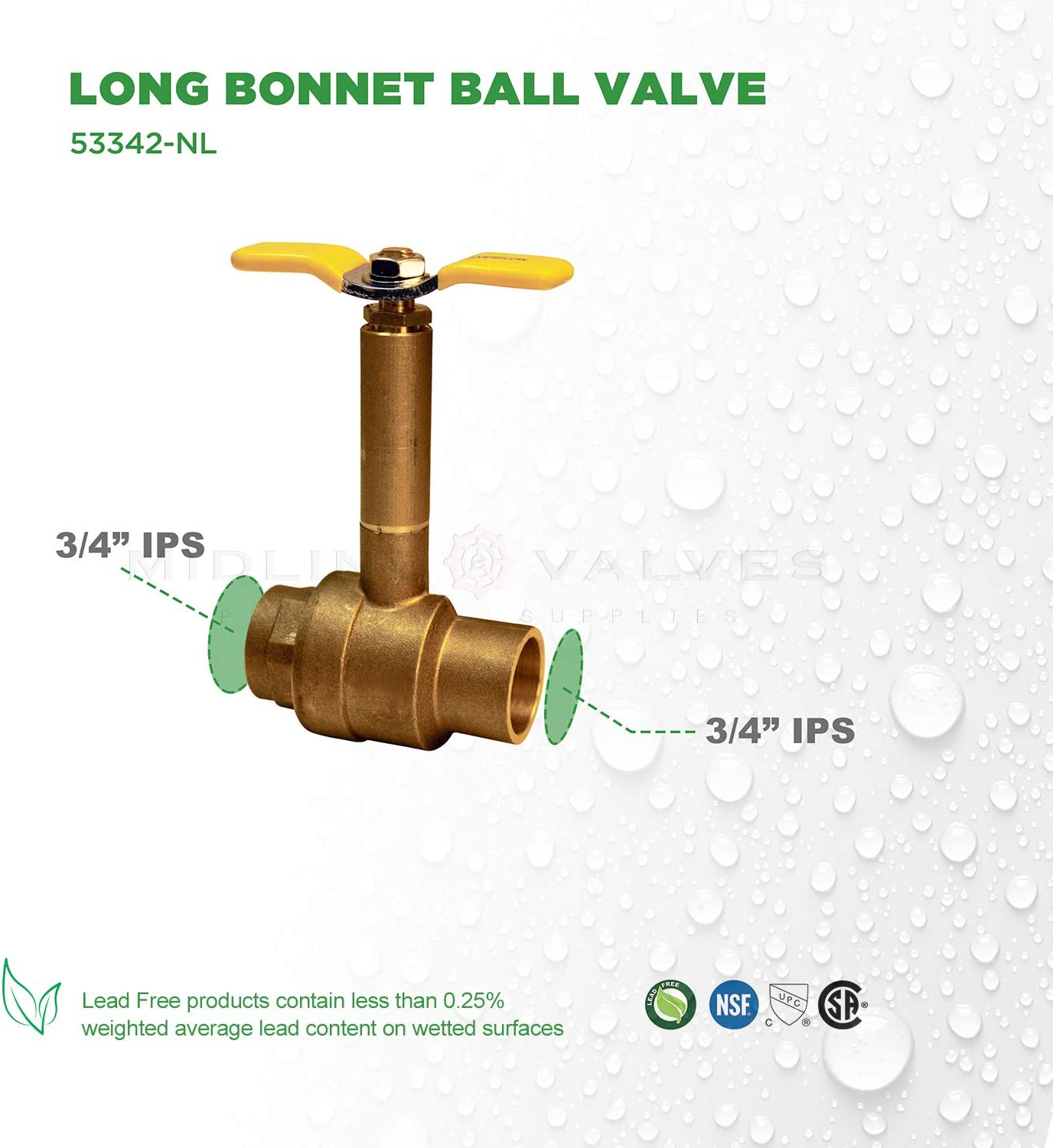 Midline Valve 75563 Premium Brass Ball Valve Sweat Connections Long Bonnet with T-Handle with 3//4 in
