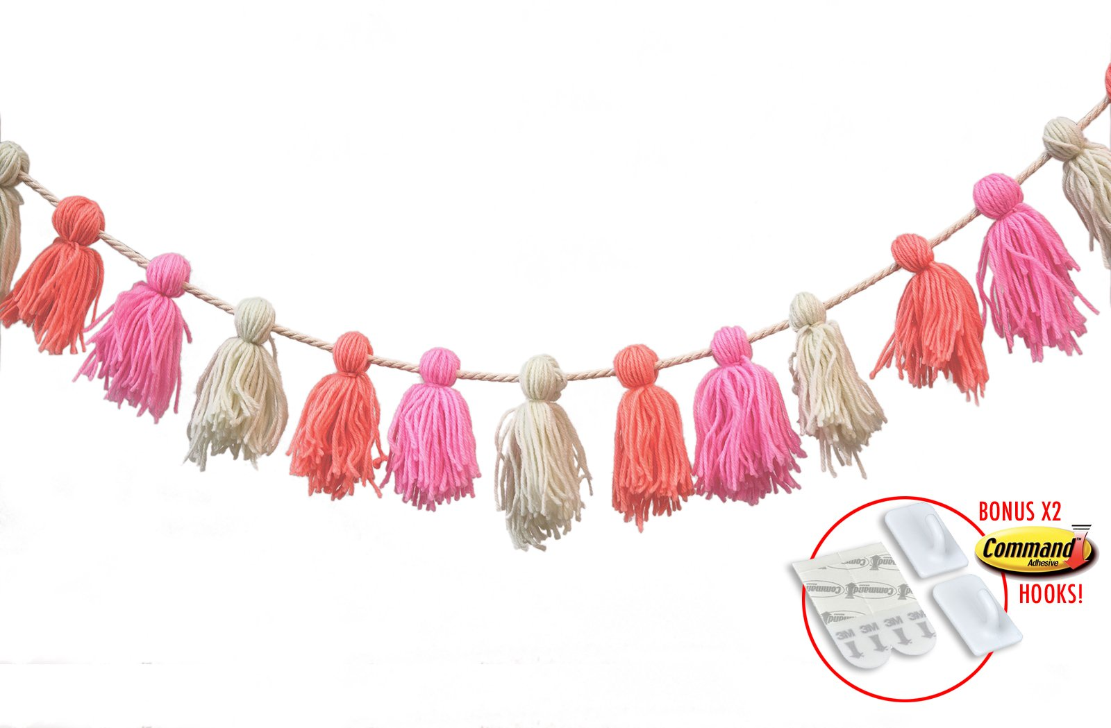 Nursery Wall Decor and Boho Party Decorations Garland in Pink