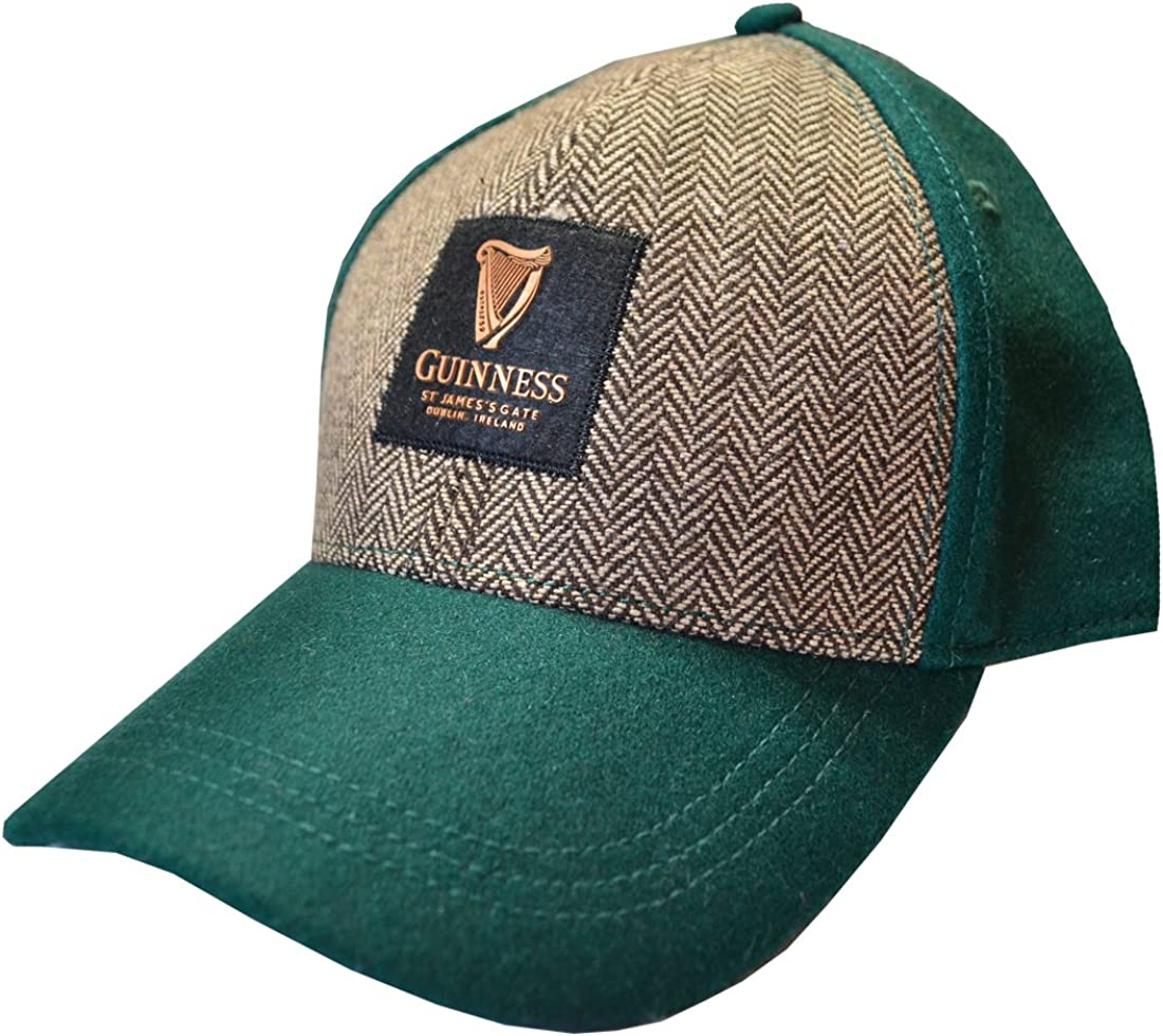 Guinness Bottle Green Embroidered Tweed Baseball Cap