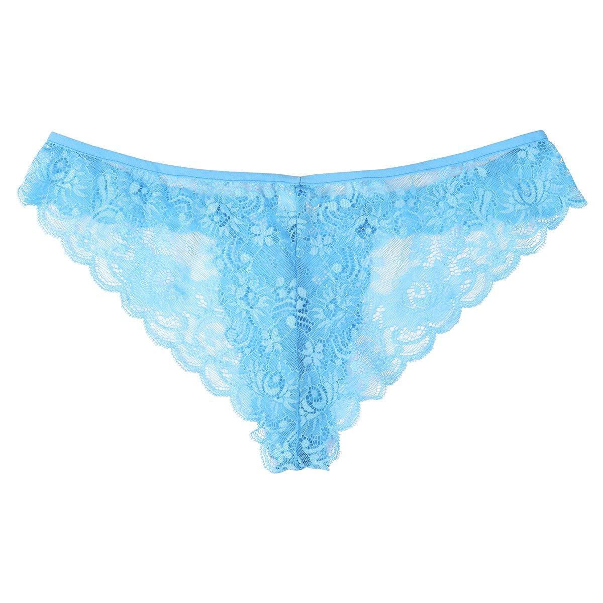 Freebily Sissy Men's Floral Lace See Through Underwear Low Rise Tanga Crossdress Panties Sky Blue X-Large(Waist:31.5-47.0''/80-118cm)