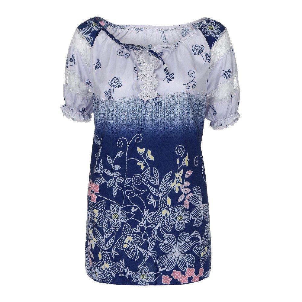 JURTEE Damen Sommer Oberteile Kurzarm V-Ausschnitt Lace Printed Lace Tops Lose T-Shirt Bluse