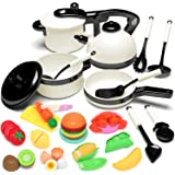 KIDPAR 24PCS Play Kitchen Set for Kids, Pretend Cooking Kit Including Pots and Pans,Cutting Play Food and Other Utensils…