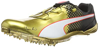 usain bolt running shoes. puma unisex adults\u0027 evospeed disc bolt tricks running shoes, gold-gold (gold usain shoes