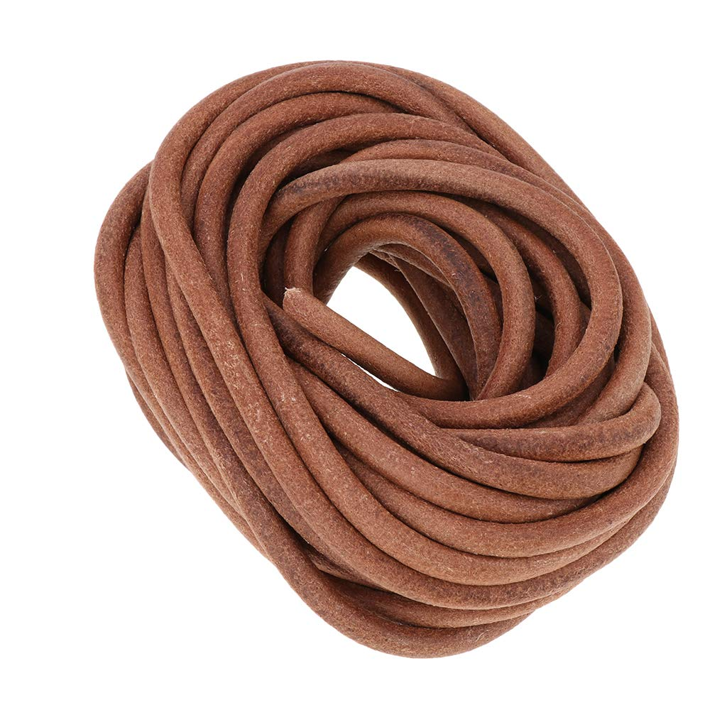 Round Leather Roll Cowhide Leather Cord, Natural Rawhide Rope for Kumihimo Braiding, Jewelry Making, Shoelaces, 10 Meters - 8mm Diameter by Unknown